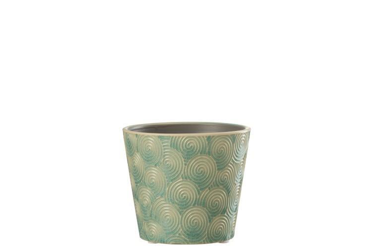 Tyrkysový vzorovaný obal na kvetináč Spiral S - Ø11 * 10 cm