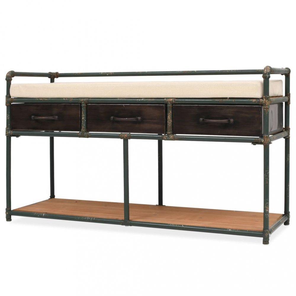 Úložná lavice hnedá / krémová / čierna Dekorhome