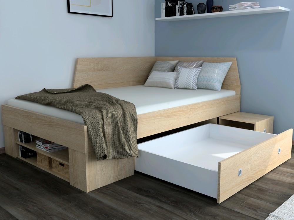 Úložná posteľ so zástenou Junior 120x200 cm, dub sonoma