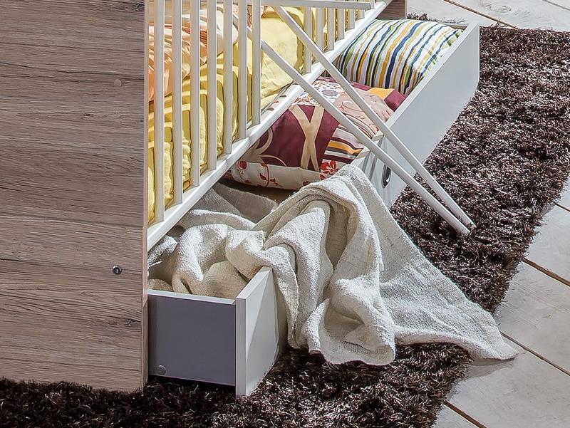 Úložná zásuvka pod posteľ Cariba, dub san remo/biela, na kolečkách