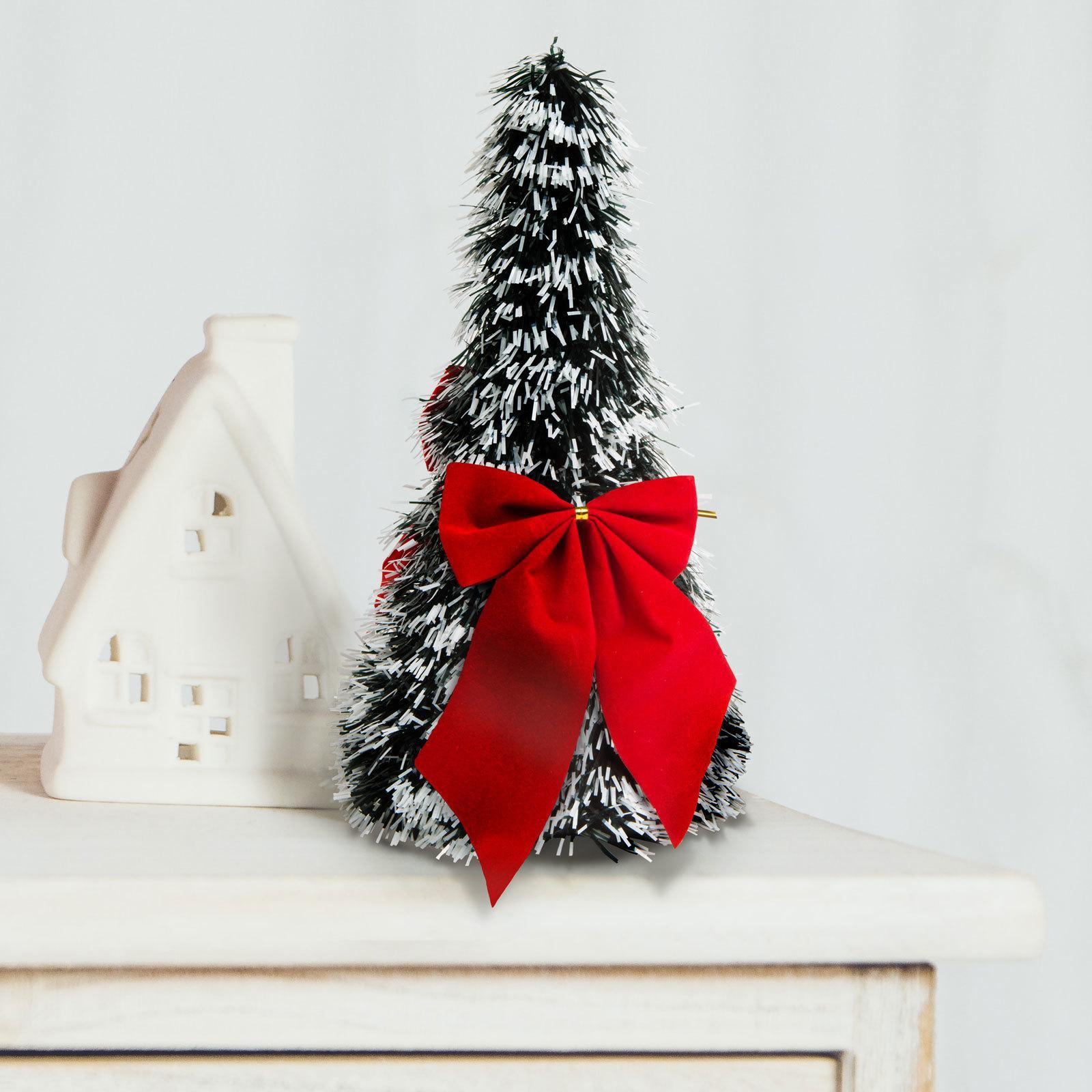 Umelý vianočný strom na stôl - zasnežený - 2 červené mašle - 26 cm