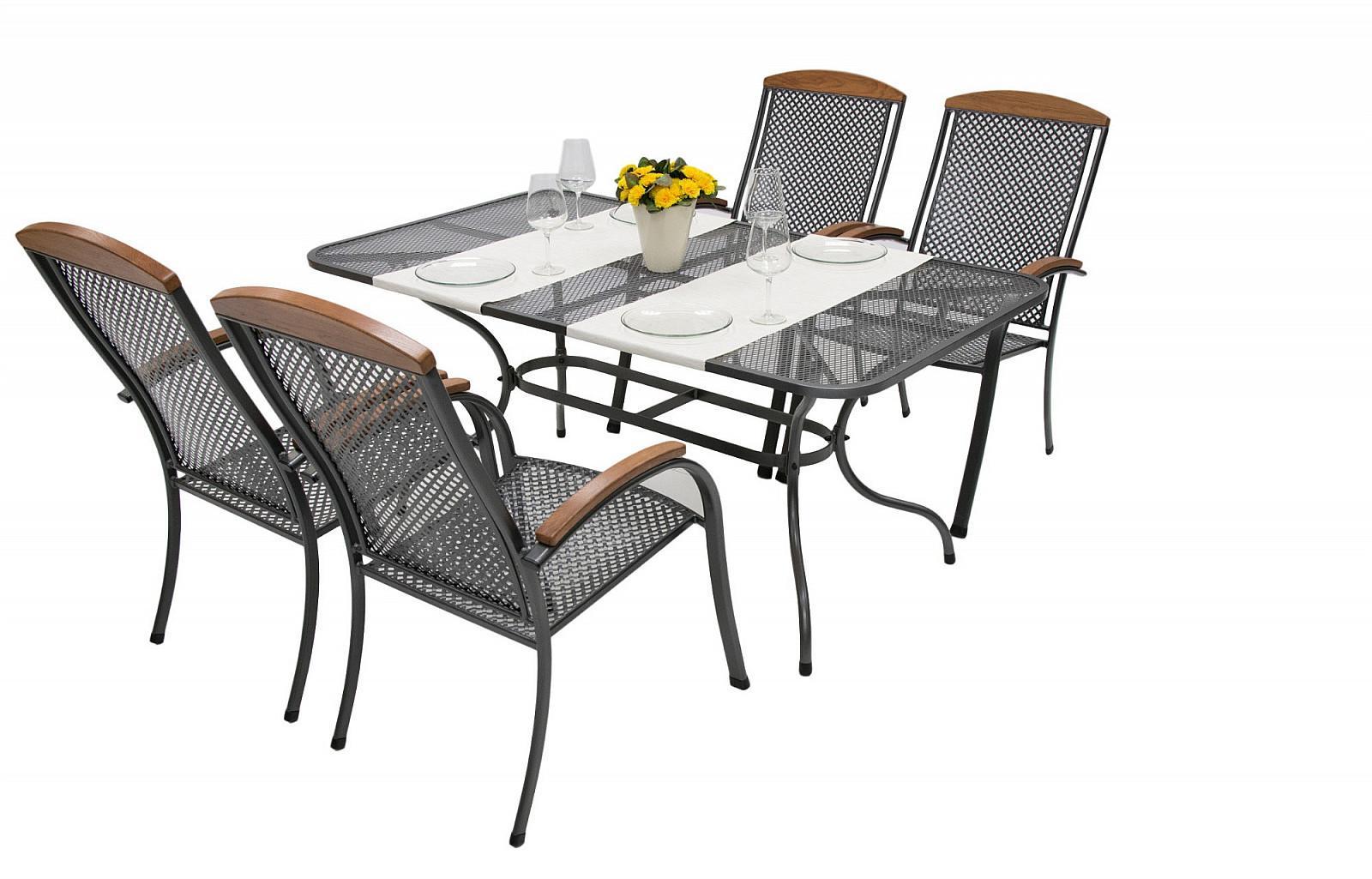 Unikov Záhradná kovová zostava MONACO I. 1+4 Stôl obdĺžnikový 190x105 cm
