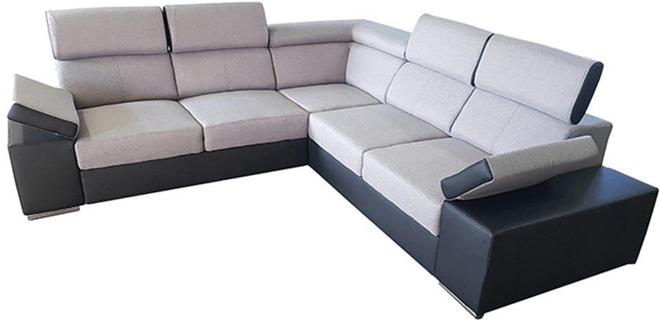 Univerzálna rohová sedacia súprava, sivá/čierna, MARBELA LUX 2+2