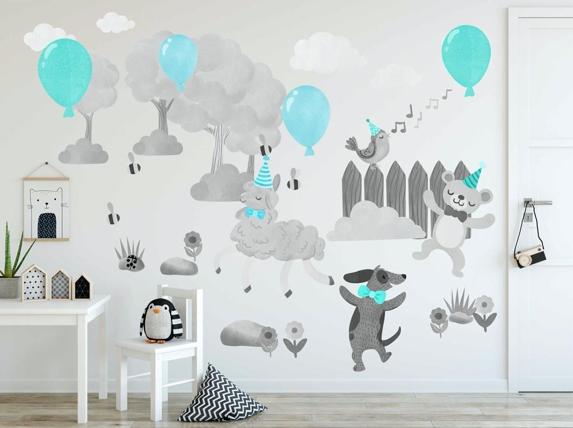 DomTextilu Úžasná detská nálepka do detskej izby veselé zvieratká 100 x 200 cm 46569-217389 Tyrkysová