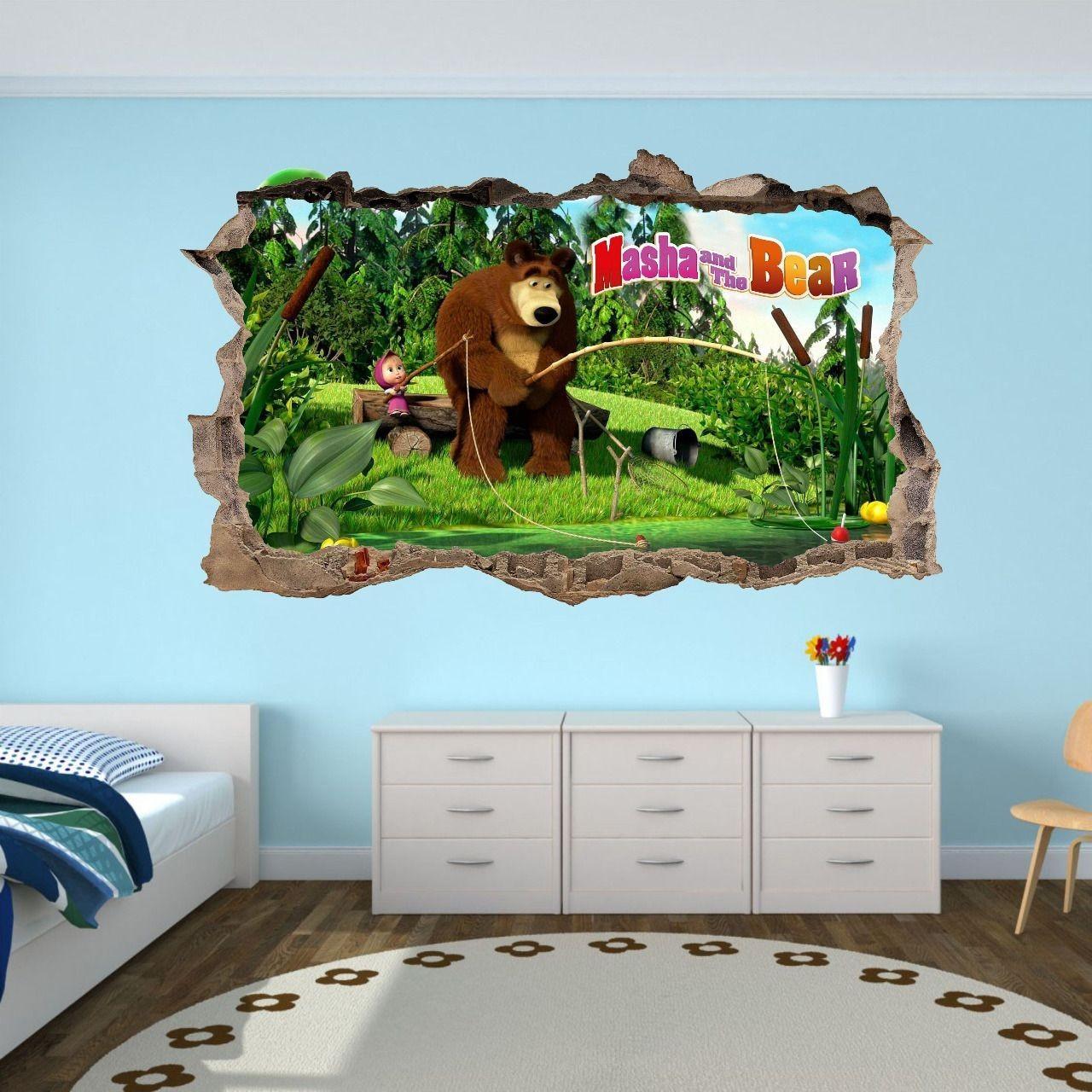 DomTextilu Úžasná detská nálepka na stenu Máša a medveď na rybačke 47 x 77 cm 46701-217765