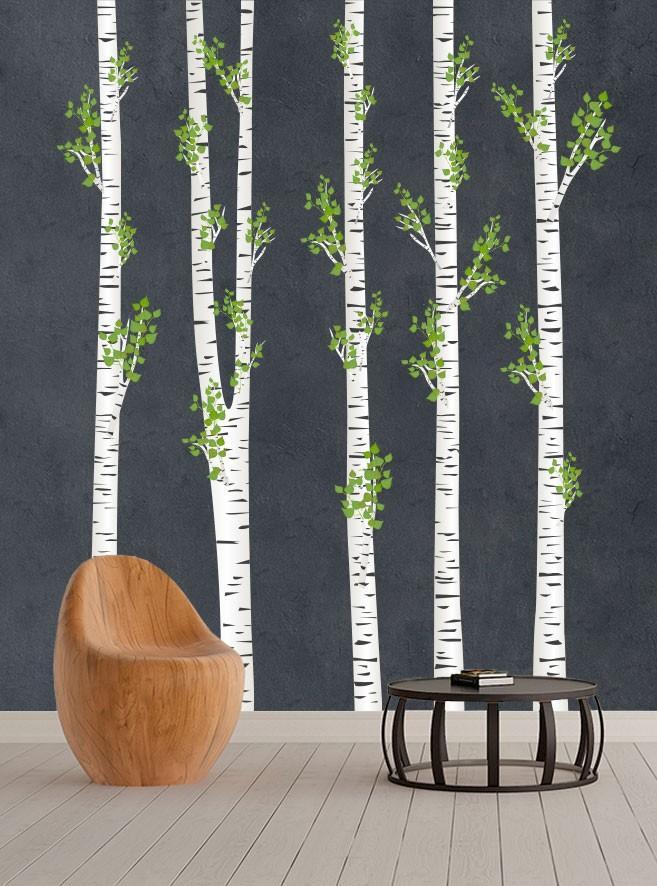 DomTextilu Úžasné nálepky na stenu breza 215 x 270 cm 42084 Biela