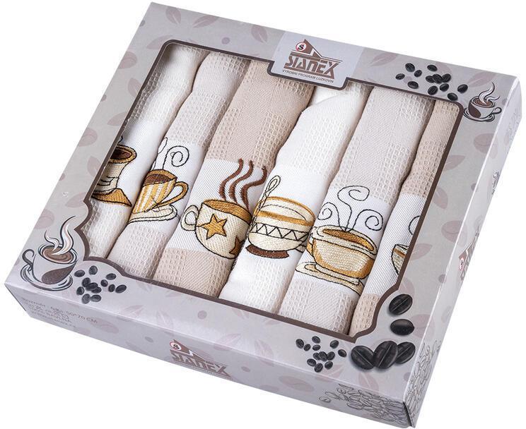 Vaflové bavlnené utierky KÁVA 50 x 70 cm 6 ks