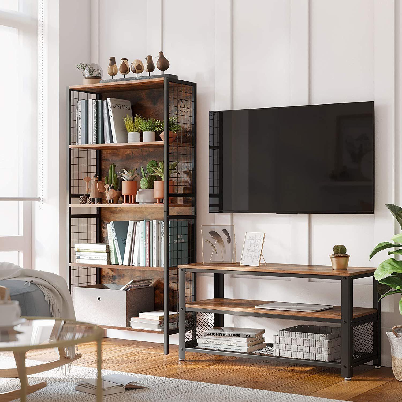 VASAGLE TV stolík industriálny drôtená polica 100 x 52 x 40 cm