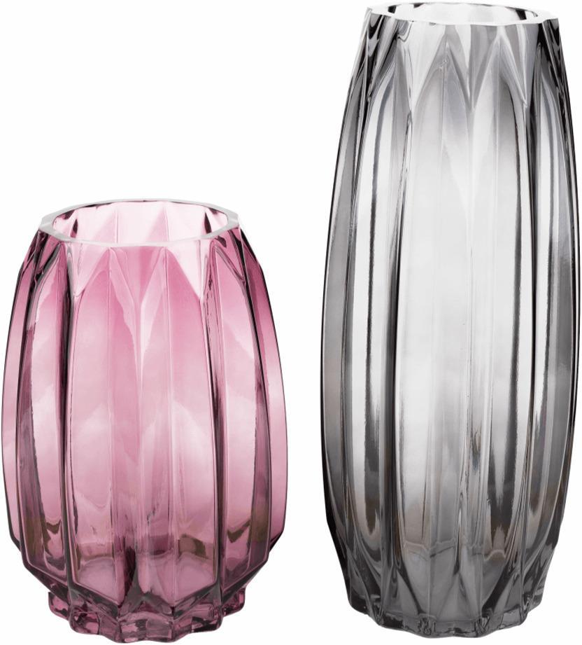 Vázy, set 2 ks, sivá/ružová, ELYSES TYP 1