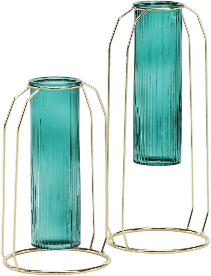 Vázy, set 2 ks, smaragdová/zlatá, ROSEIN TYP 1