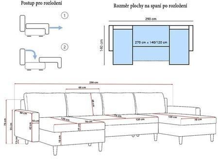 Veľká rozkladacia sedacia súprava ETNA III Bordó