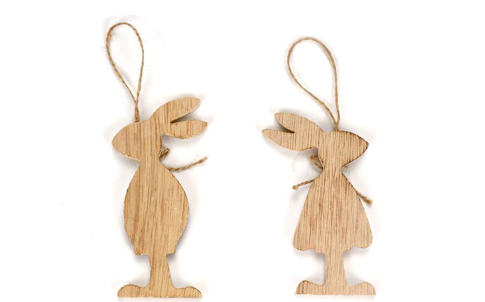 Veľkonoční drevení zajačikovia - 6 ks Varianta: 1