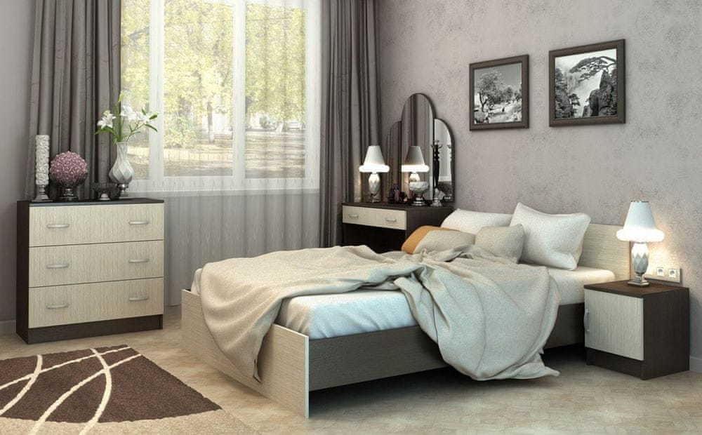 VerDesign BASKA posteľ 90x200 KP-555, dub belfort