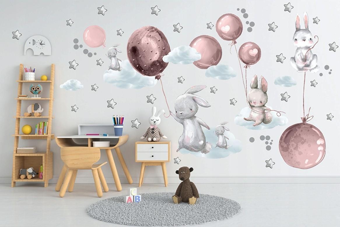 DomTextilu Veselá veľká nálepka na stenu so zajačiky na nočnej oblohe 100 x 200 cm 46224