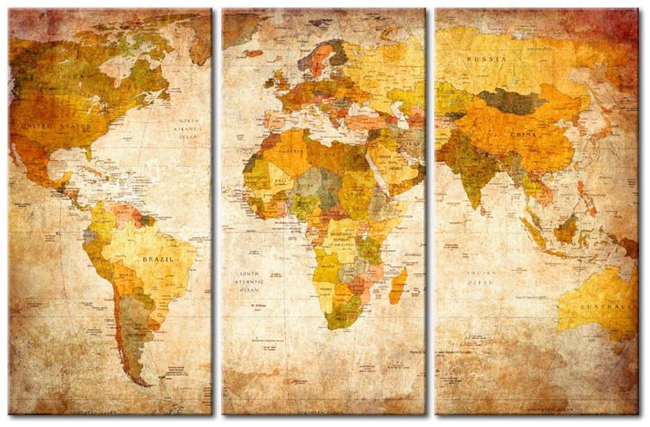 Viacdielna nástenka s mapou sveta Bimago Antique Travel 120 × 80 cm