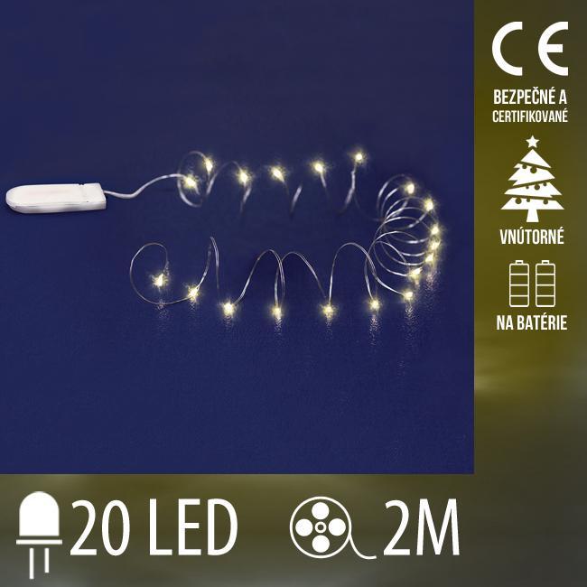 Vianočná LED svetelná mikro reťaz vnútorná na batérie - 20LED - 2M Teplá biela