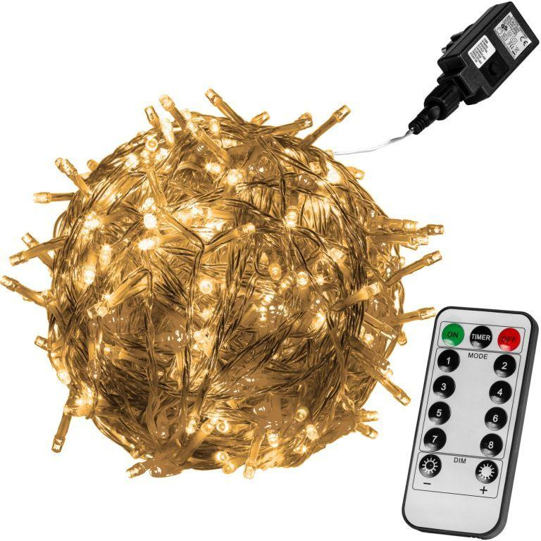 Vianočné LED osvetlenie - 20m, 200 LED, teple biele, ovládač