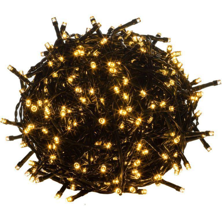 Vianočné osvetlenie 20 m, 200 LED, teple biele, zelený kábel