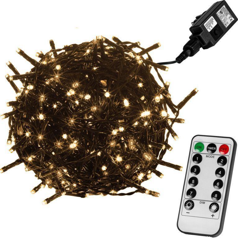 Vianočné osvetlenie 60 m, 600 LED, teple biele, zelený kábel