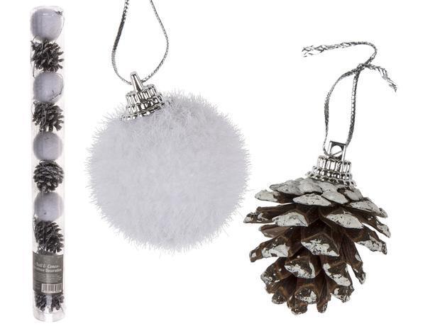 Vianočné ozdoby 4cm 10ks guľa a šiška