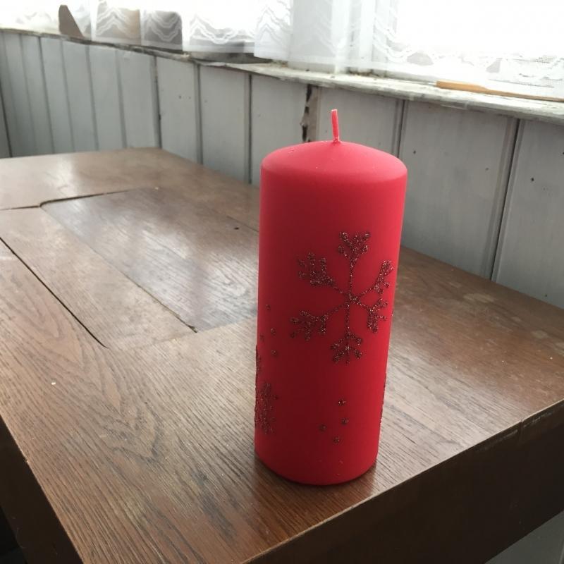 Vianočné sviečky snehová vločka valec červený 7x18cm
