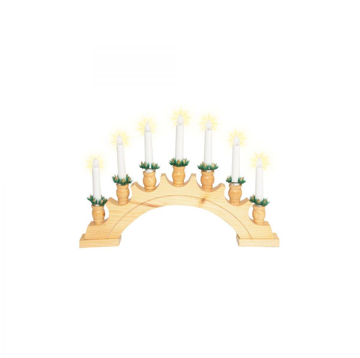 Vianočný svietnik oblúk, drevo, 7 žiaroviek, 230V KAD 02 Somogyi