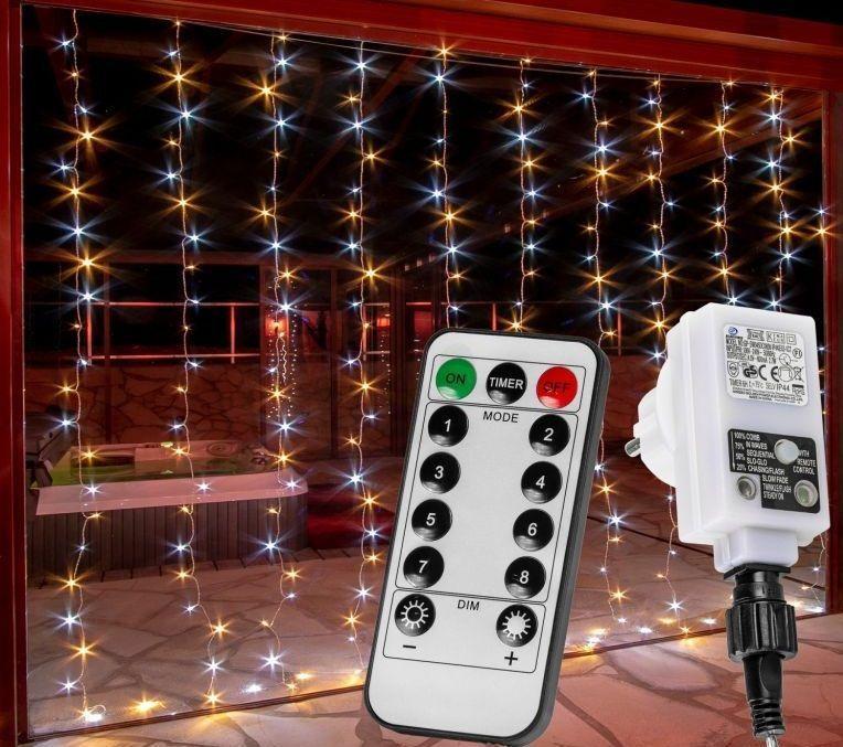 Vianočný záves 300 LED - 3x3 m, teple a studeno biela