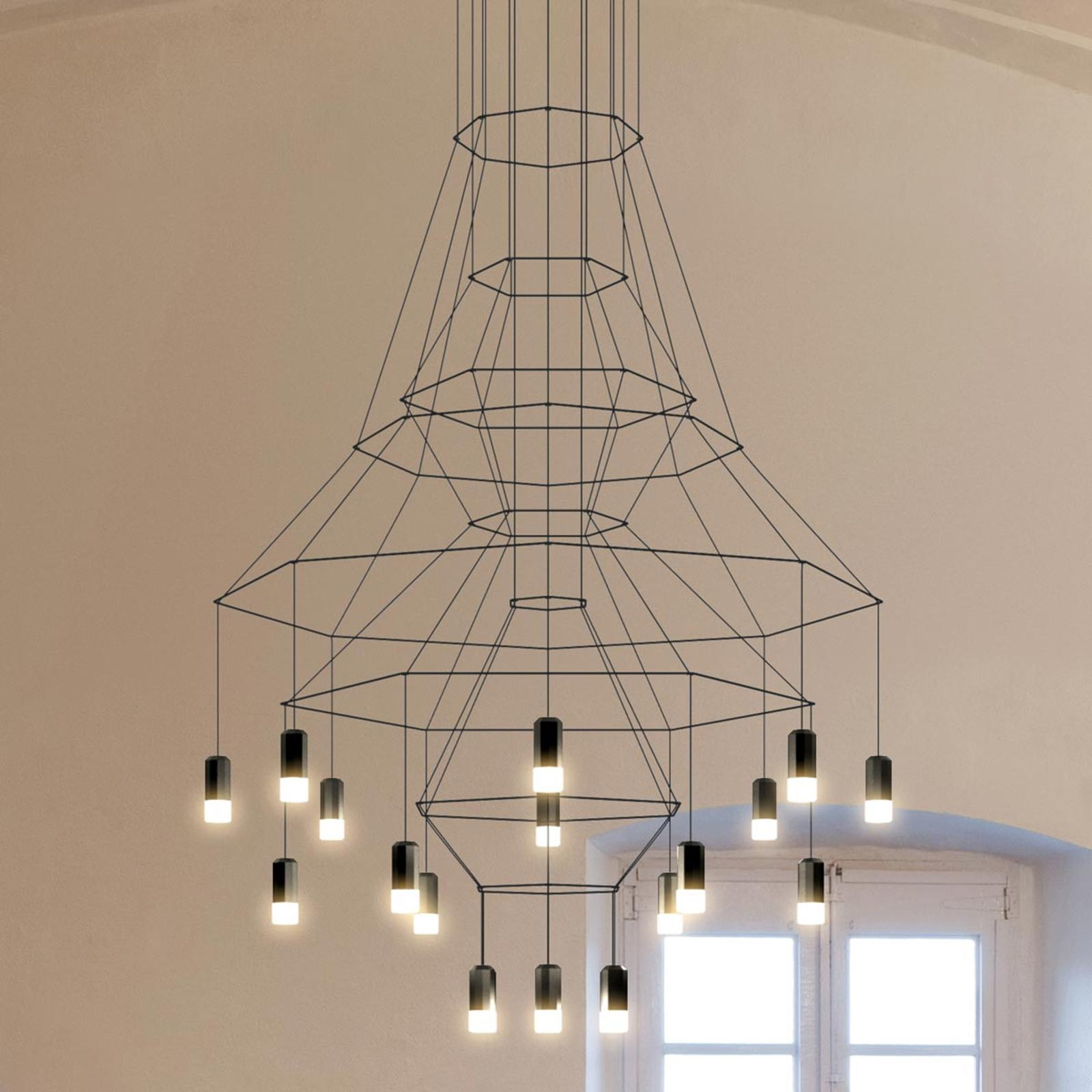 Vibia LED závesná lampa Vibia Wireflow, čierna, 279 cm
