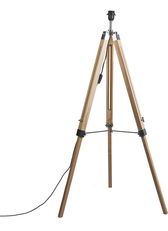 Vidiecka podlahová lampa drevená bez tienidla - statív