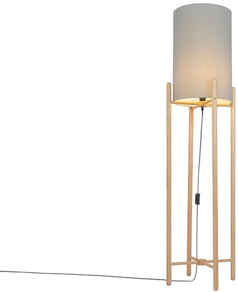 Vidiecka stojaca lampa drevená so šedým odtieňom - Lengi
