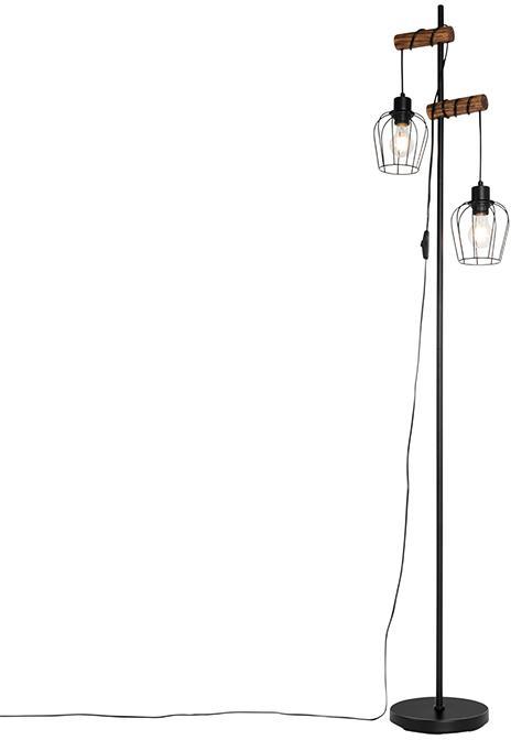 Vidiecka stojanová lampa čierna s drevom 2 -svetelná - Stronk
