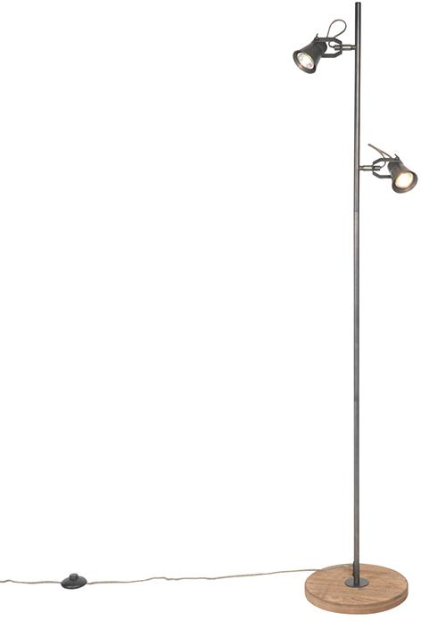 Vidiecka stojanová lampa čierna s drevom - Jelle