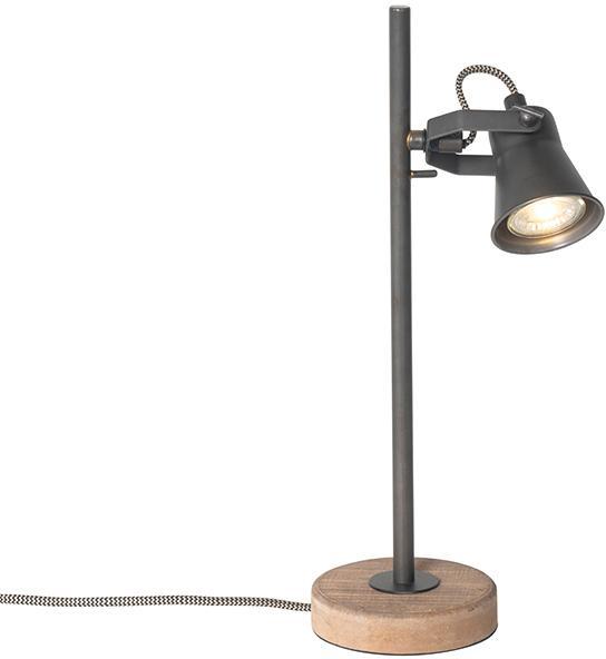 Vidiecka stolná lampa čierna s drevom - Jelle