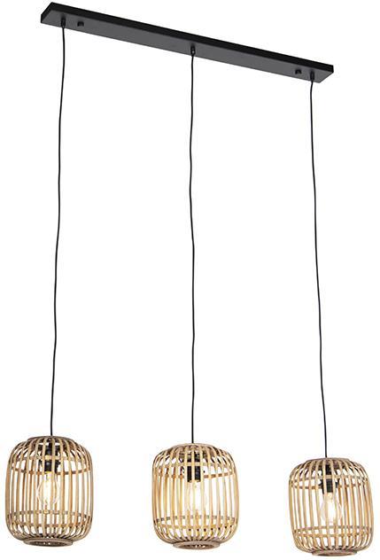 Vidiecka závesná lampa ratanová 3-svetlá - Manila