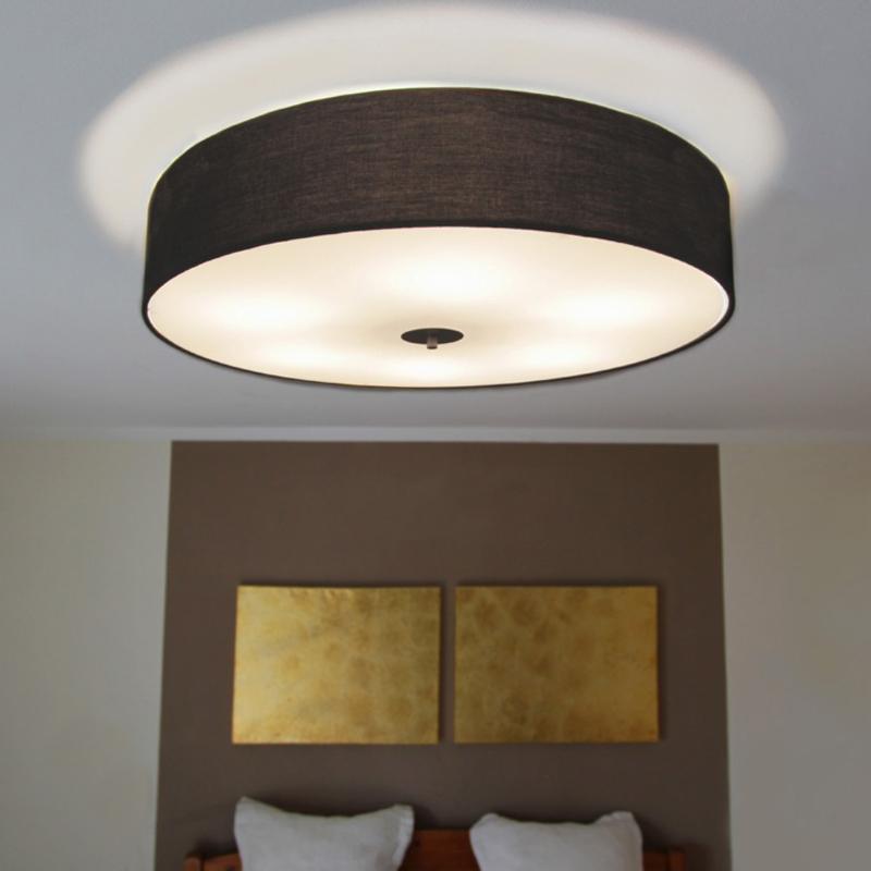 Vidiecke stropné svietidlo čierne 70 cm - bubon