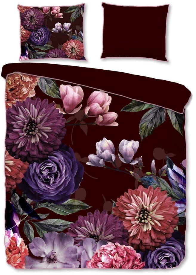 Vínovočervené obliečky na dvojlôžko z organickej bavlny Descanso Gerbera, 200 x 220 cm