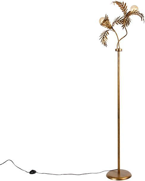 Vintage stojaca lampa zlatá 2-svetlá - Botanica