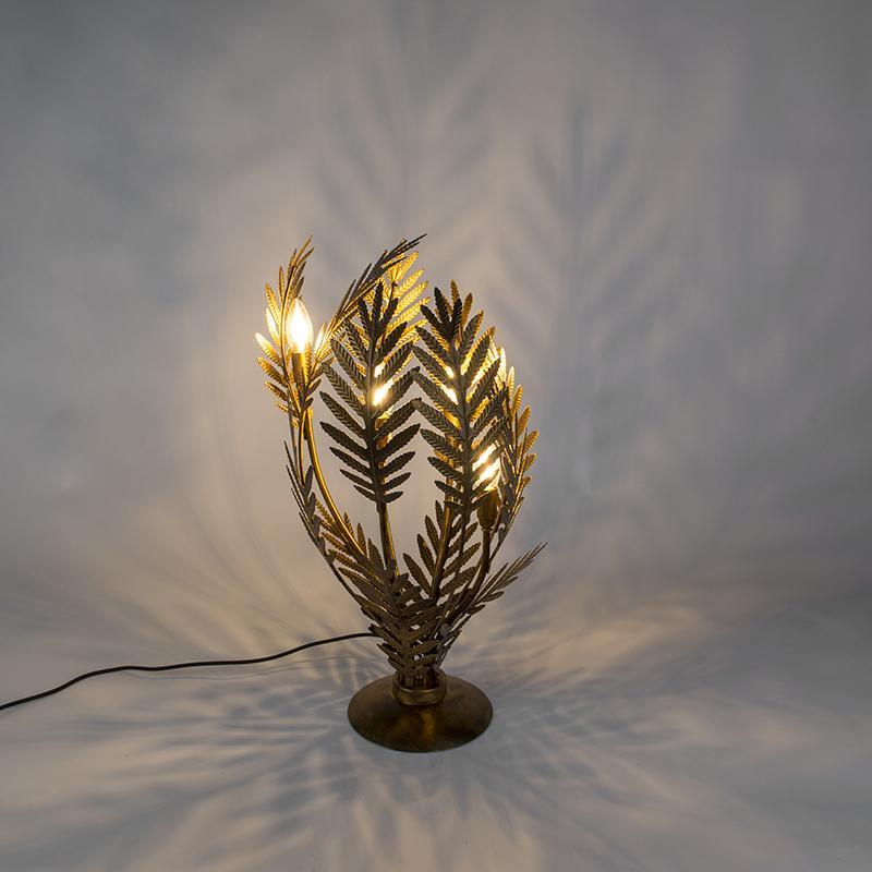 Vintage stolná lampa veľká zlatá - Botanica