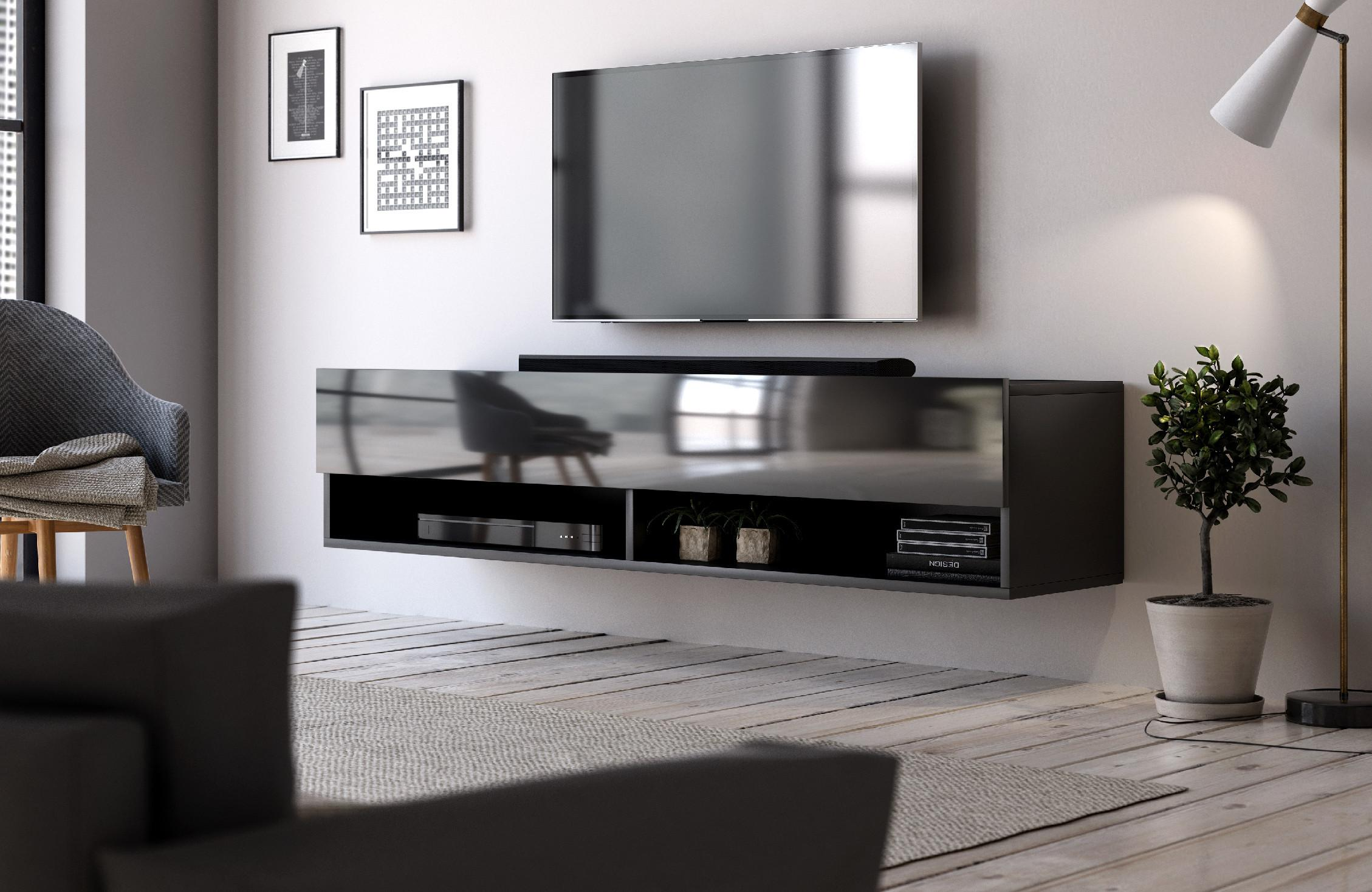 VIVALDI TV stolík DERBY 140 čierny mat/čierny lesk
