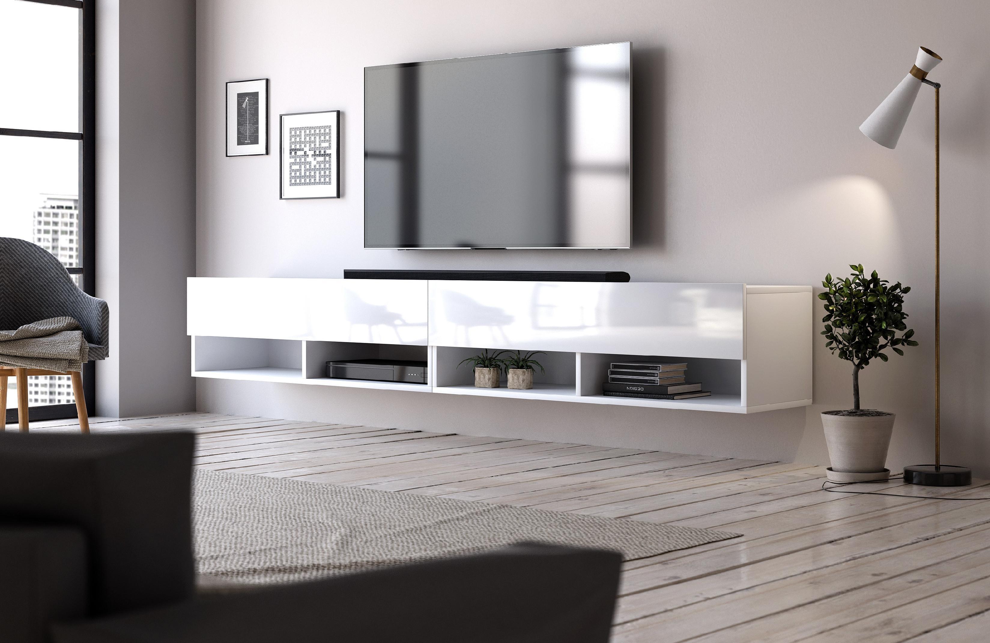 VIVALDI TV stolík DERBY 280 matný biely/biely lesk