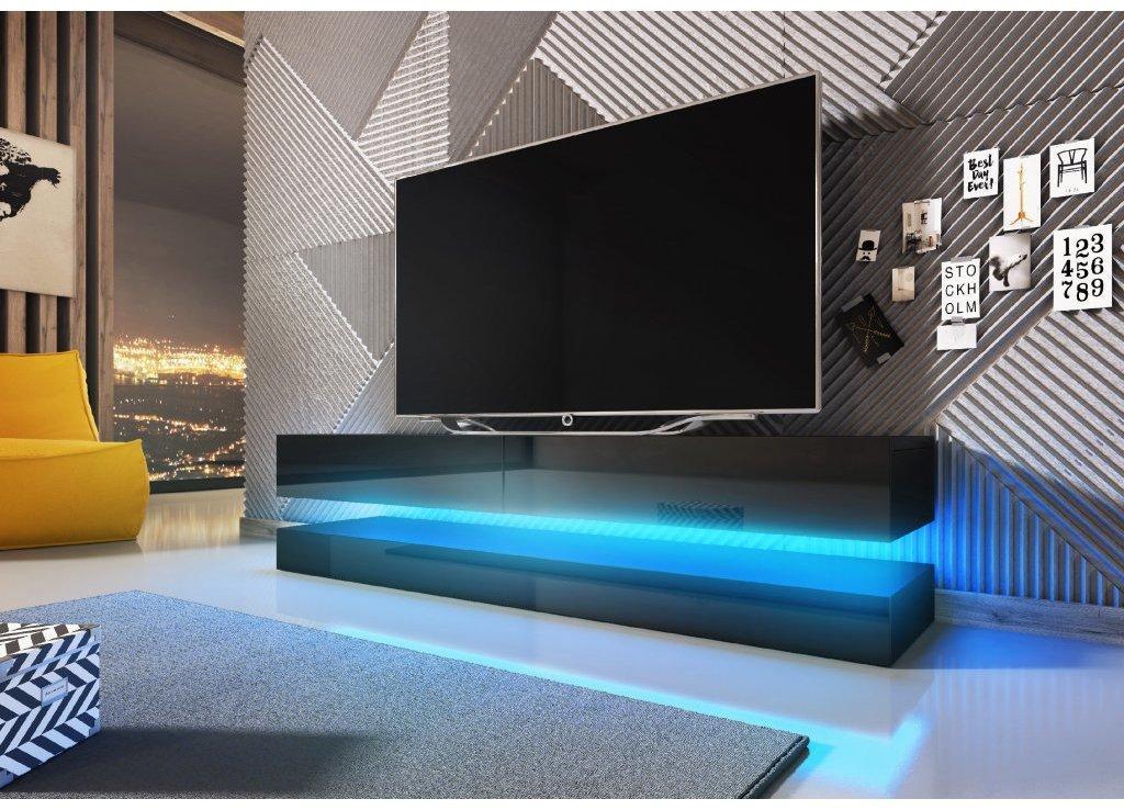 VIVALDI TV stolík FLY čierny matný / čierny lesklý s LED osvetlením