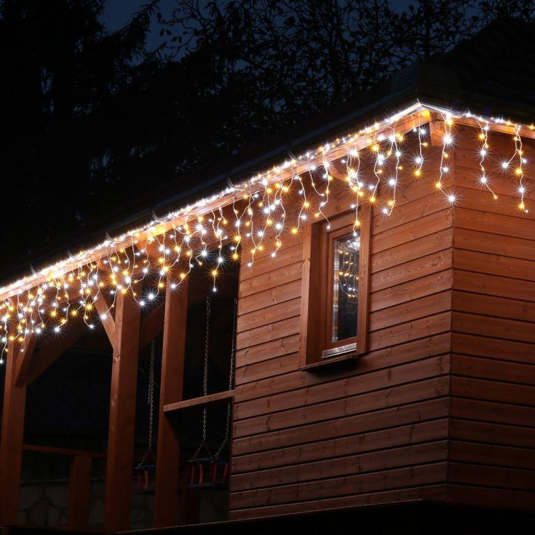 VOLTRONIC svetelný dážď - 200 LED, teplá a studená biela
