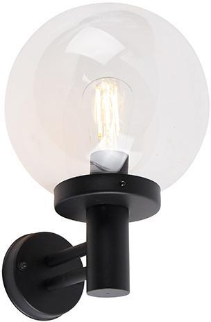Vonkajšie nástenné svietidlo čierne s plastom nerezová oceľ IP44 - Sfera