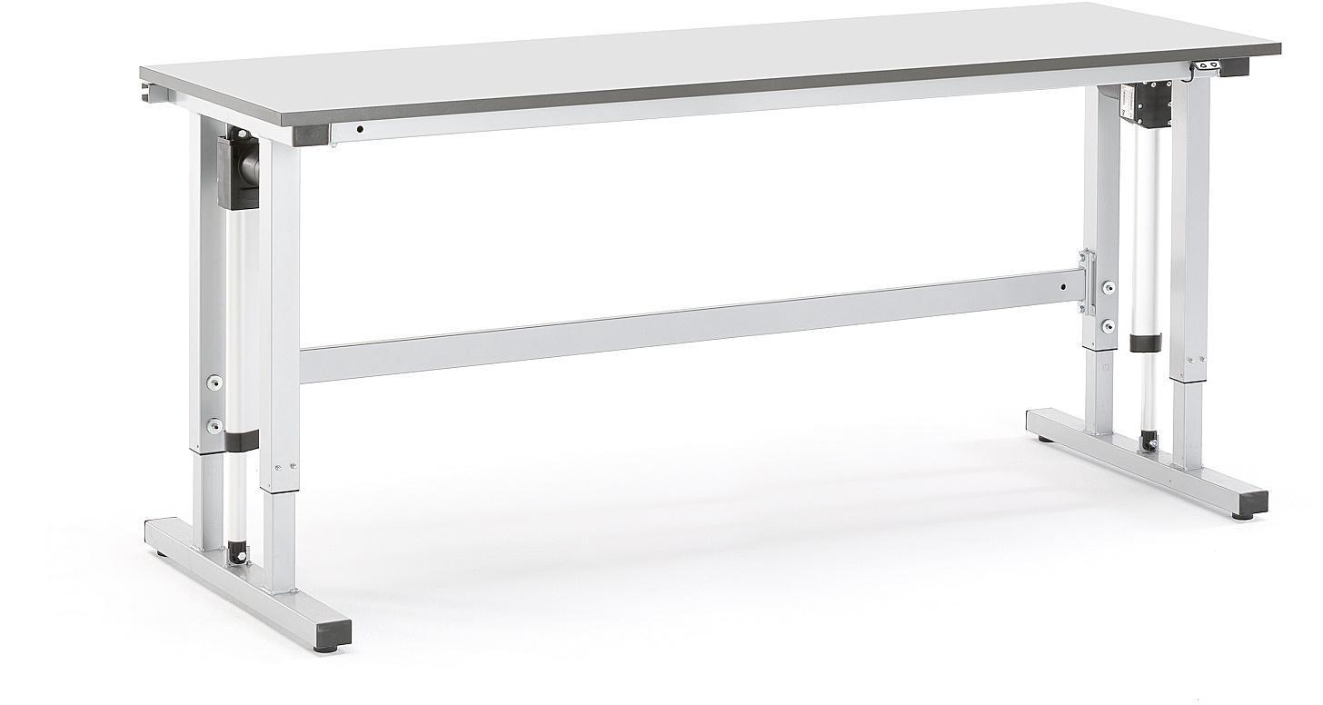 Výškovo nastaviteľný dielenský stôl Motion, 2000x600 mm, nosnosť 300 kg