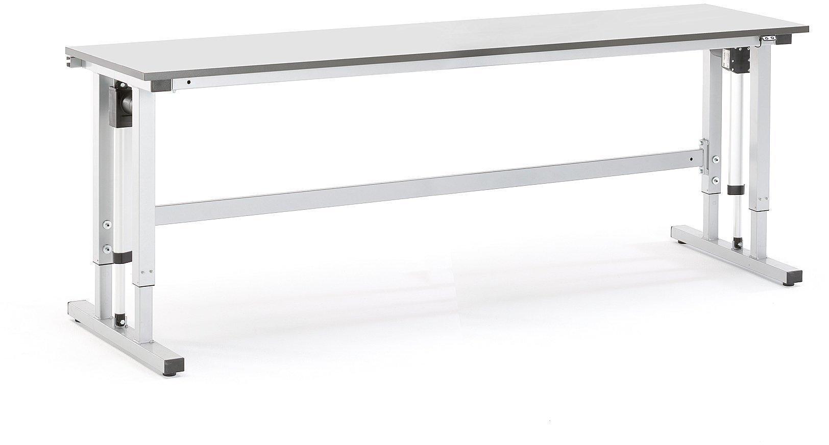 Výškovo nastaviteľný dielenský stôl Motion, 2500x600 mm, nosnosť 300 kg