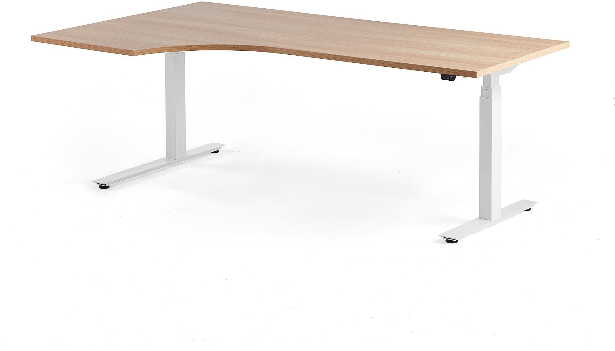 Výškovo nastaviteľný rohový stôl Modulus, 2000x1200 mm, biela, dub