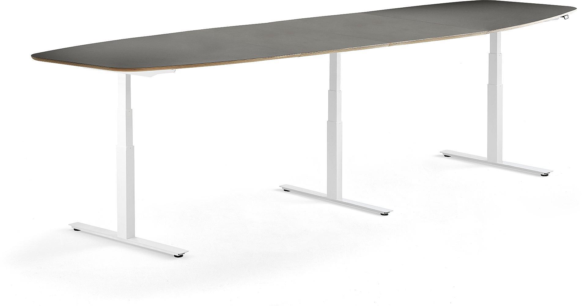 Výškovo nastaviteľný rokovací stôl Audrey, 4000 x 1200 mm, biela/tmavošedá