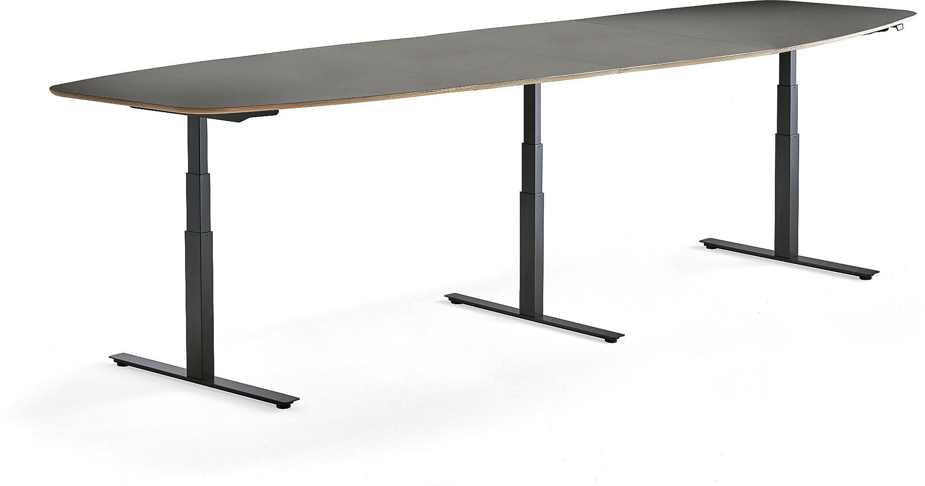 Výškovo nastaviteľný rokovací stôl Audrey, 4000 x 1200 mm, čierna/tmavošedá