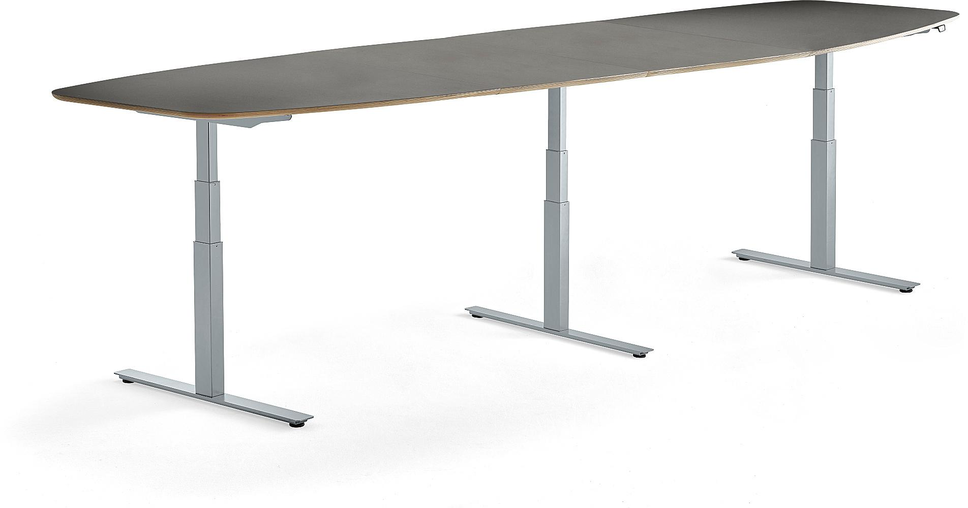 Výškovo nastaviteľný rokovací stôl Audrey, 4000 x 1200 mm, strieborná/tmavošedá