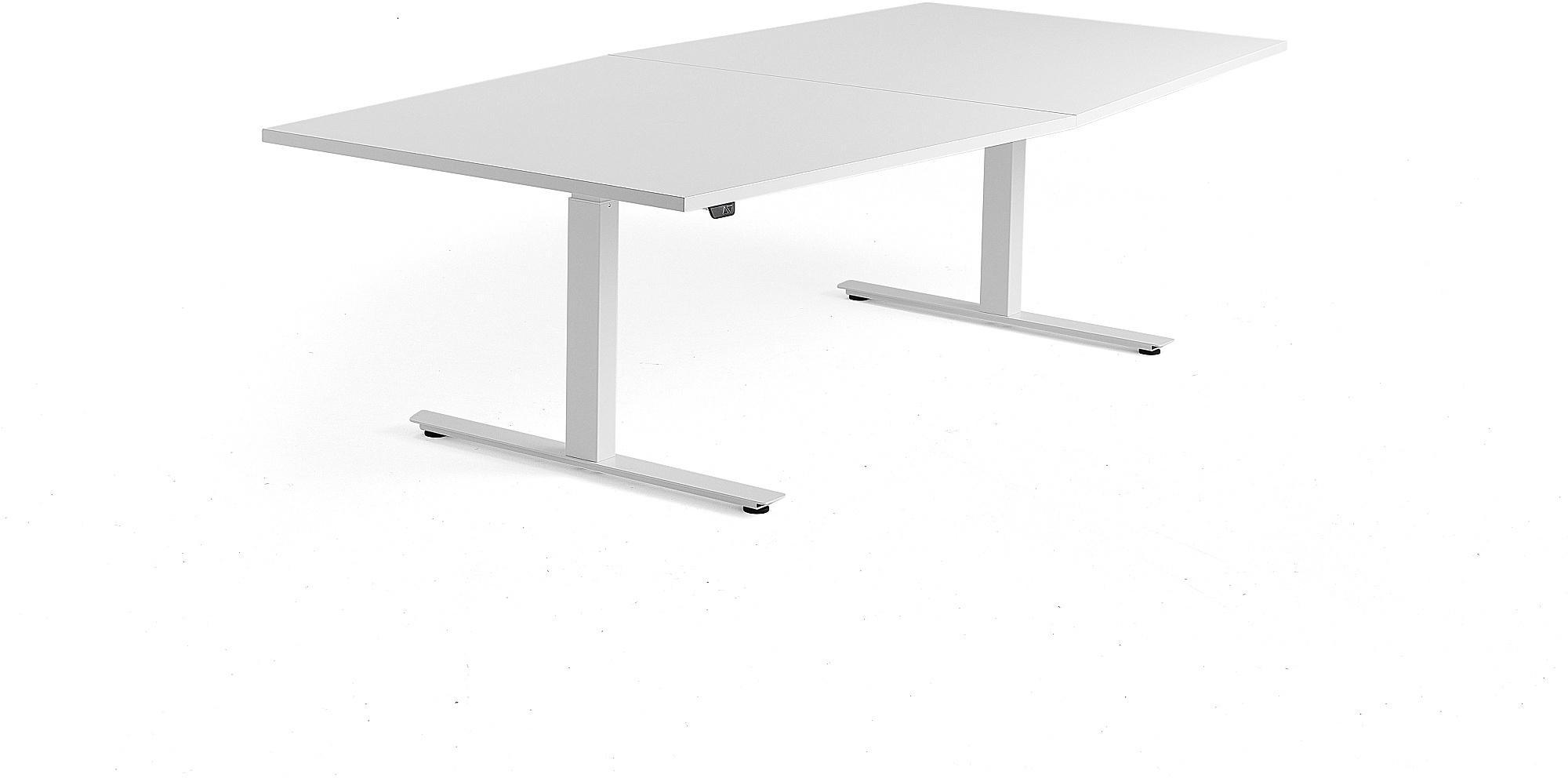 Výškovo nastaviteľný rokovací stôl Modulus, 2400x1200 mm, biela, biela